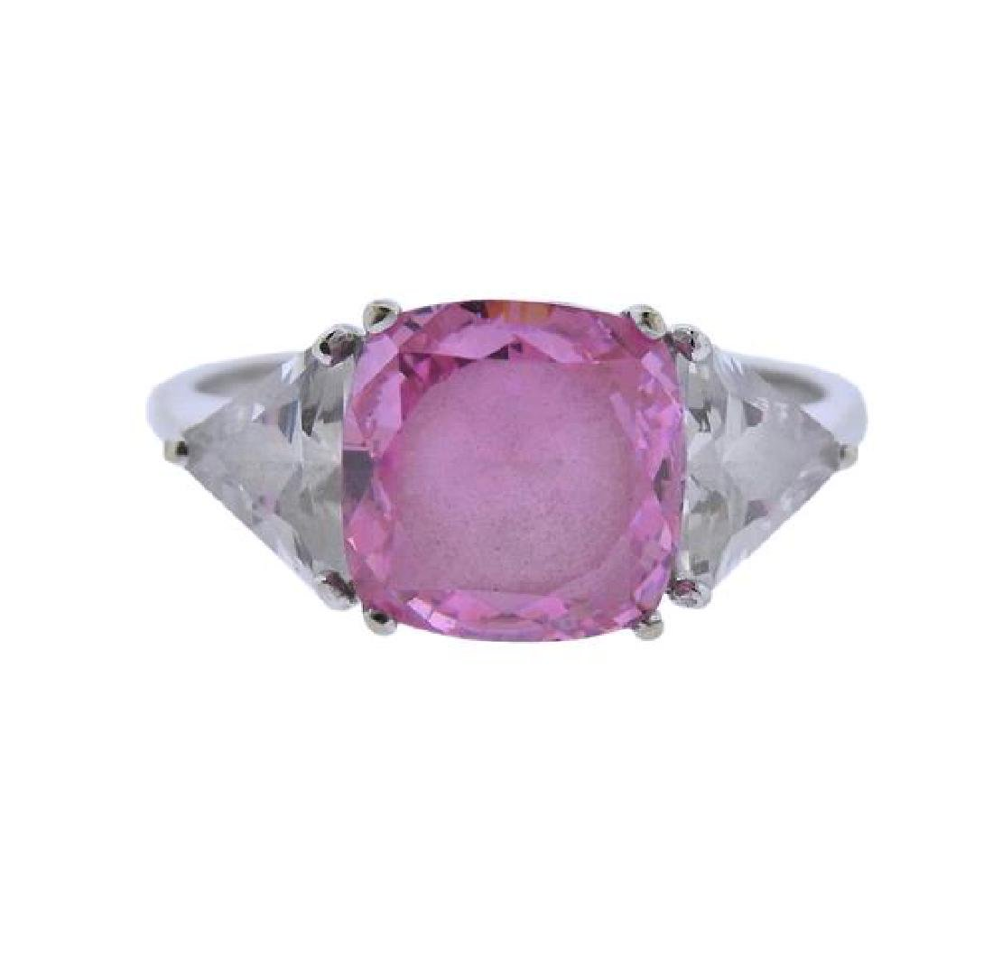 14K Gold Pink Clear Stone Ring