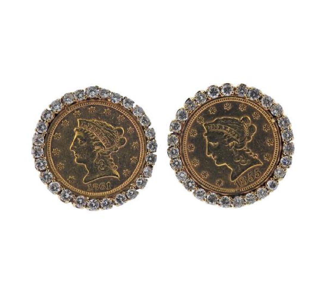 14k Gold Diamond US Coin Earrings