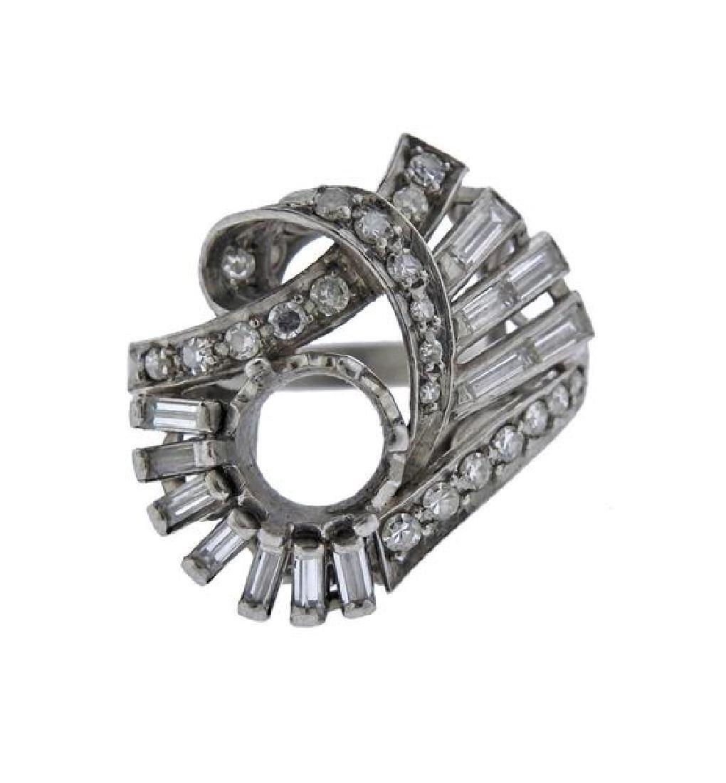 Mid Century Platinum Diamond Ring Setting
