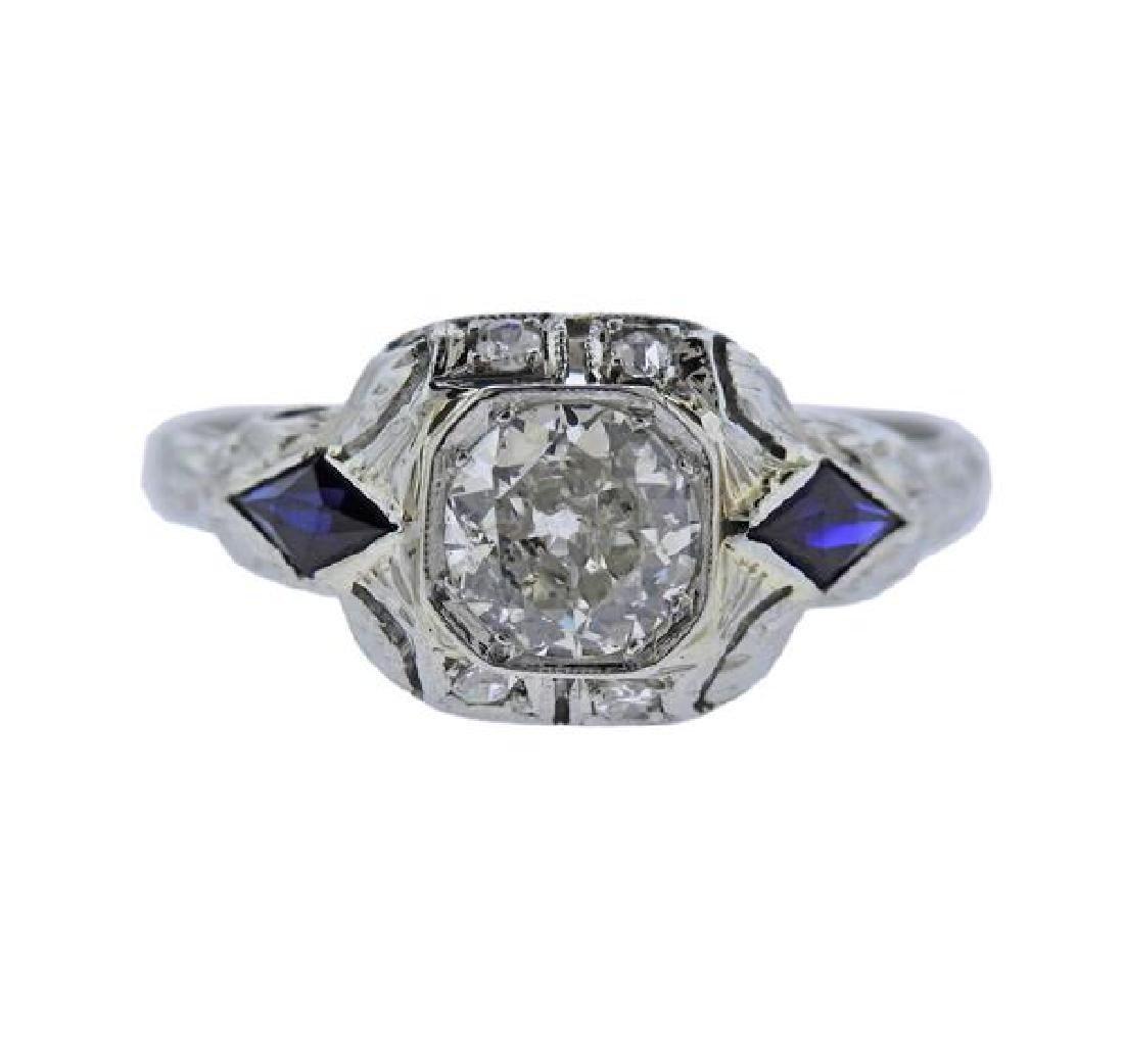 Art Deco 18K Gold Diamond Sapphire Ring