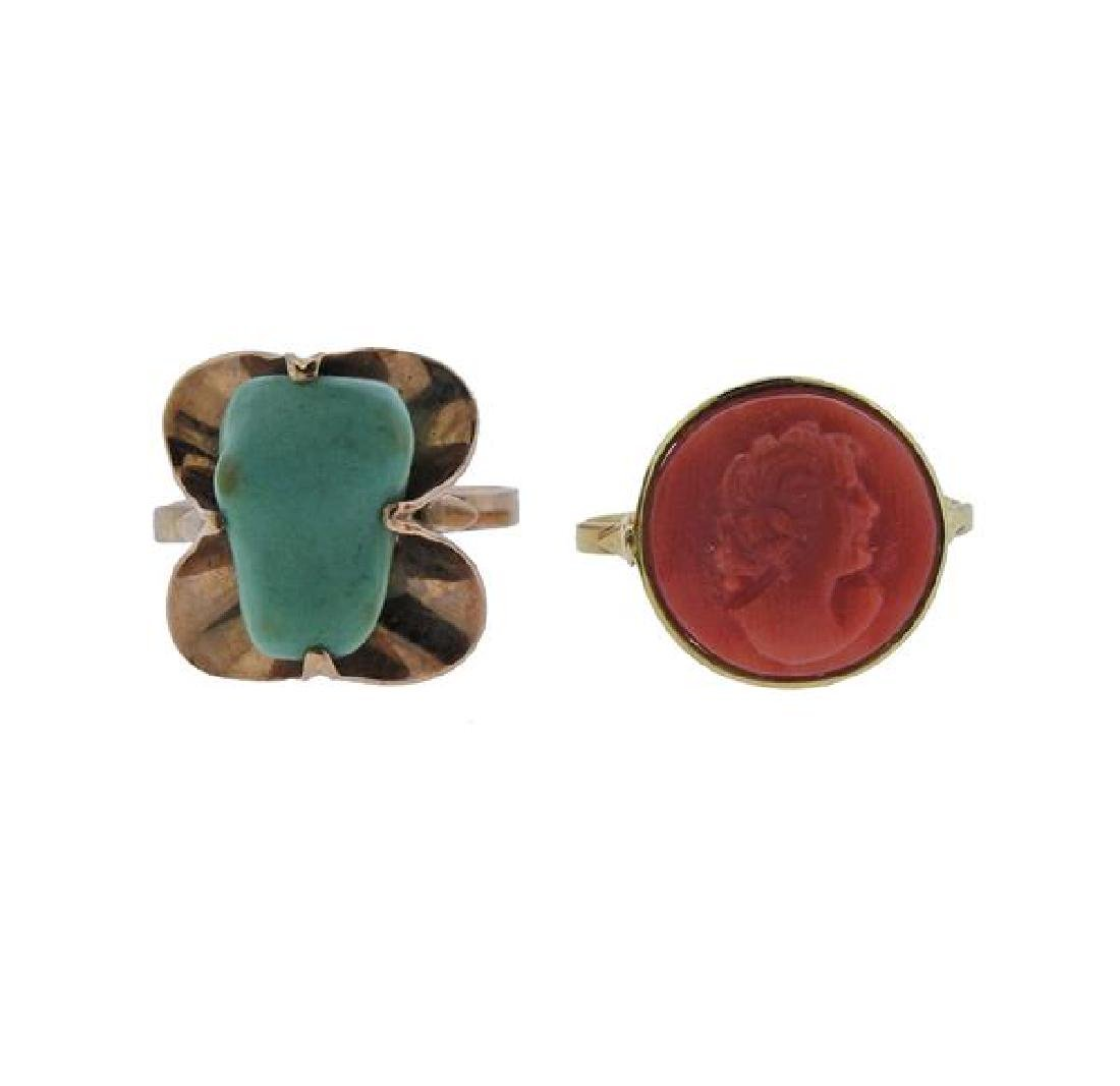 18k Gold Turquoise Coral Ring Lot of 2