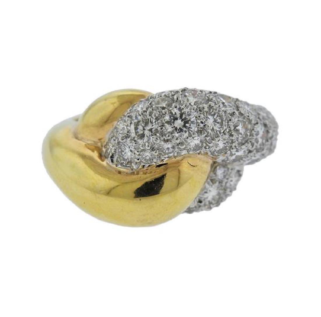 David Webb 18k Gold Platinum Diamond Ring
