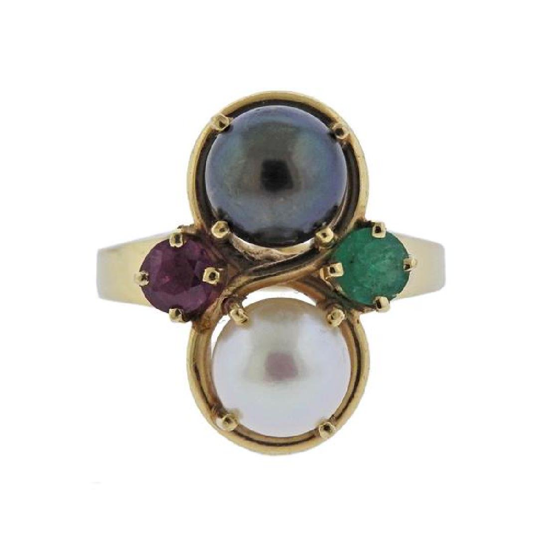 14K Gold Pearl Ruby Emerald Ring