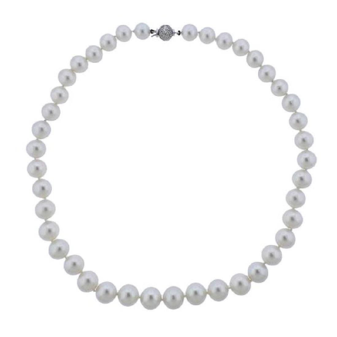 18k Gold Diamond Pearl Necklace