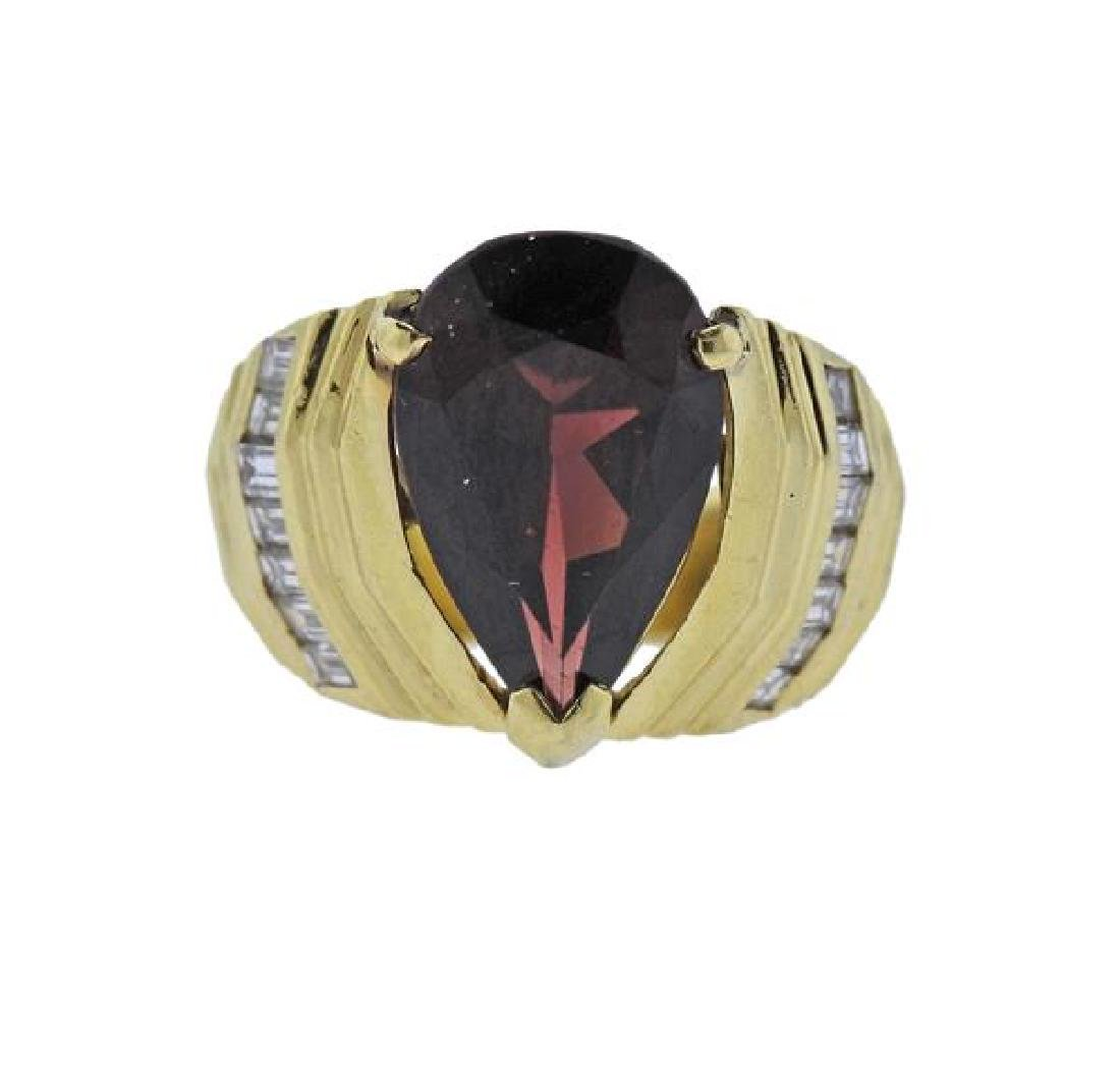 18k Gold Diamond Red Stone Ring