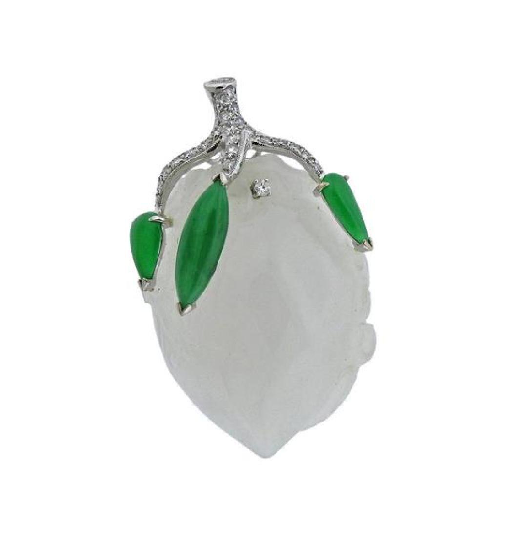 18k Gold Diamond Carved Jade Pendant