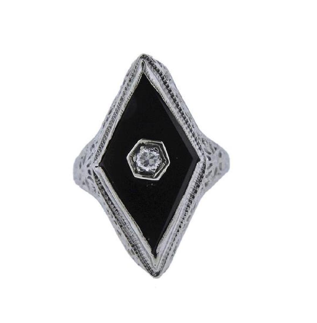 Art Deco Filigree 18K Gold Diamond Onyx Ring