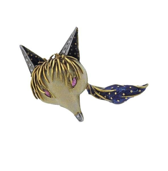 18K Gold Diamond Red Gemstone Enamel Fox Brooch