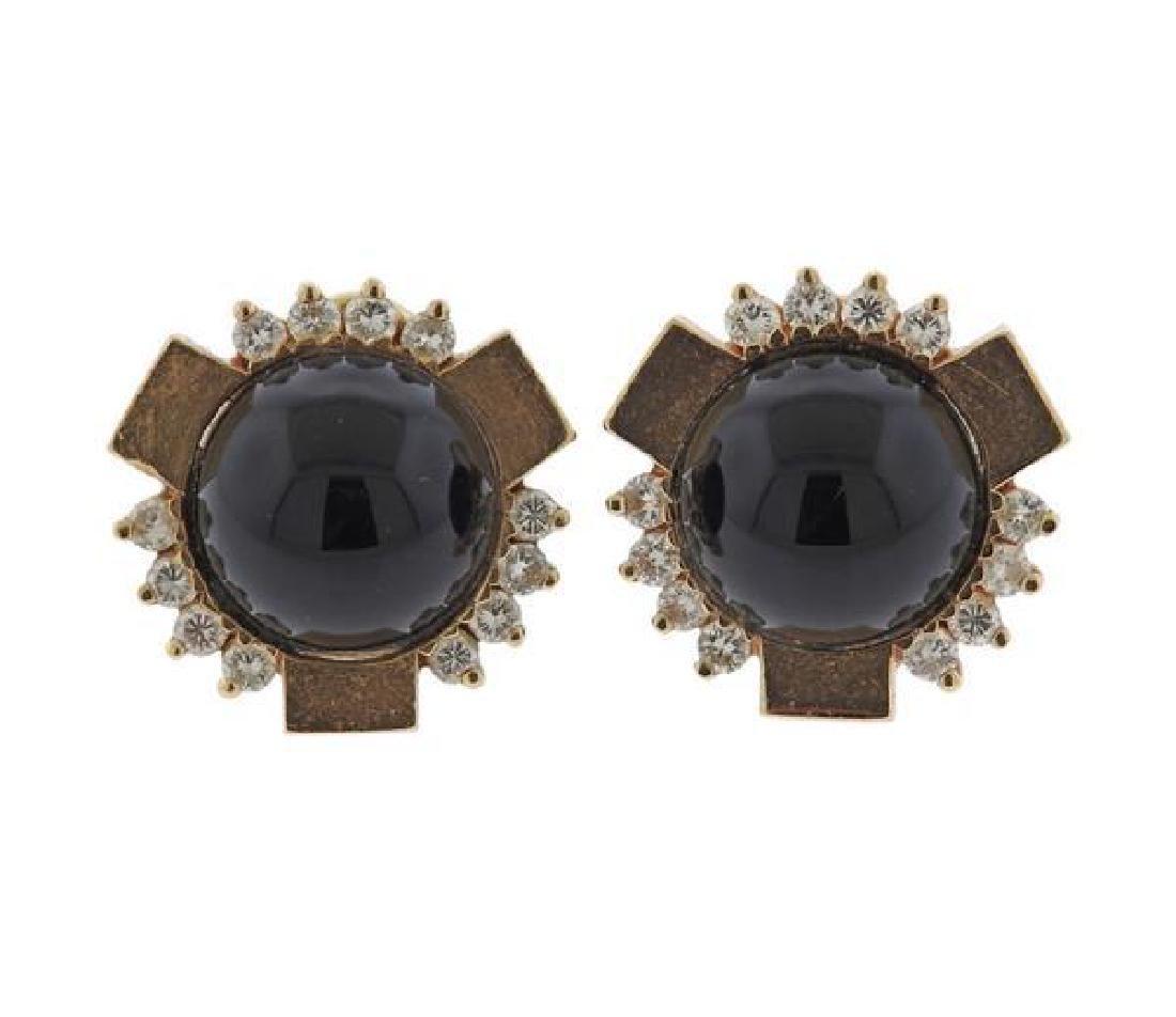 14k Gold Onyx Diamond Earrings