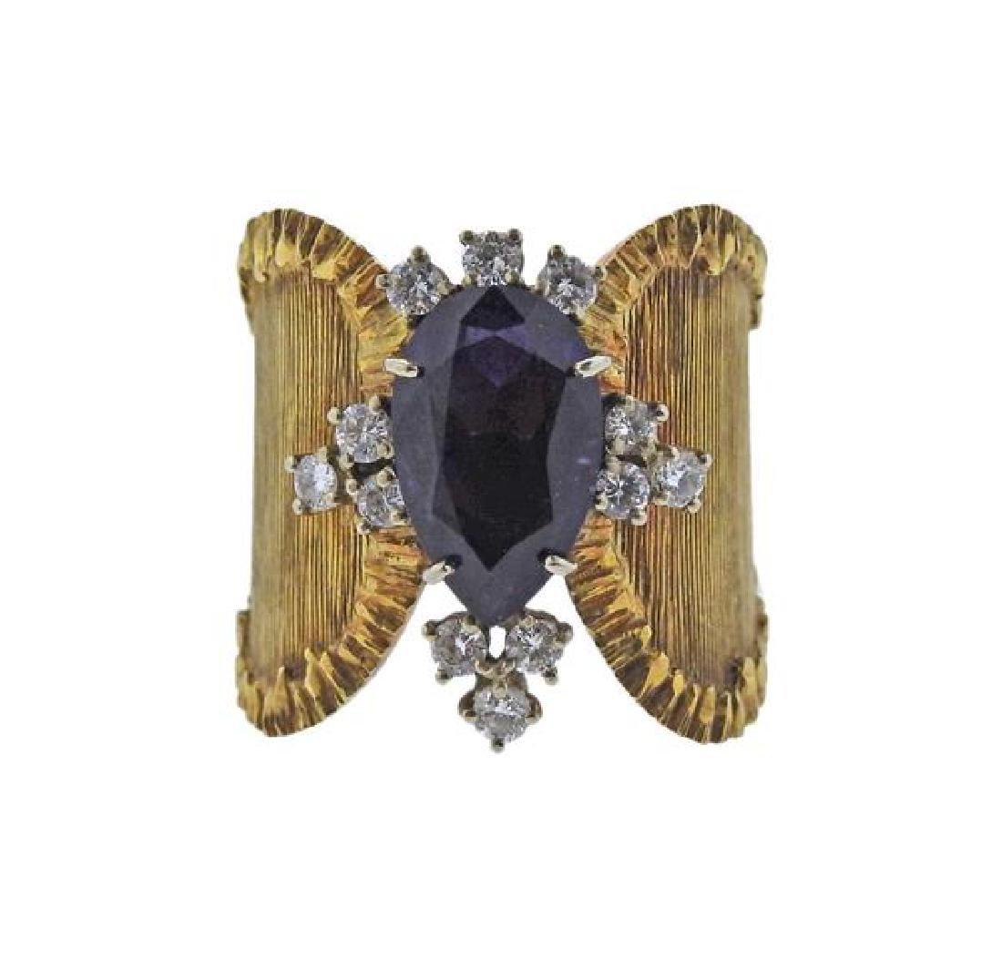 18K Gold Diamond Purple Gemstone Wide Band Ring
