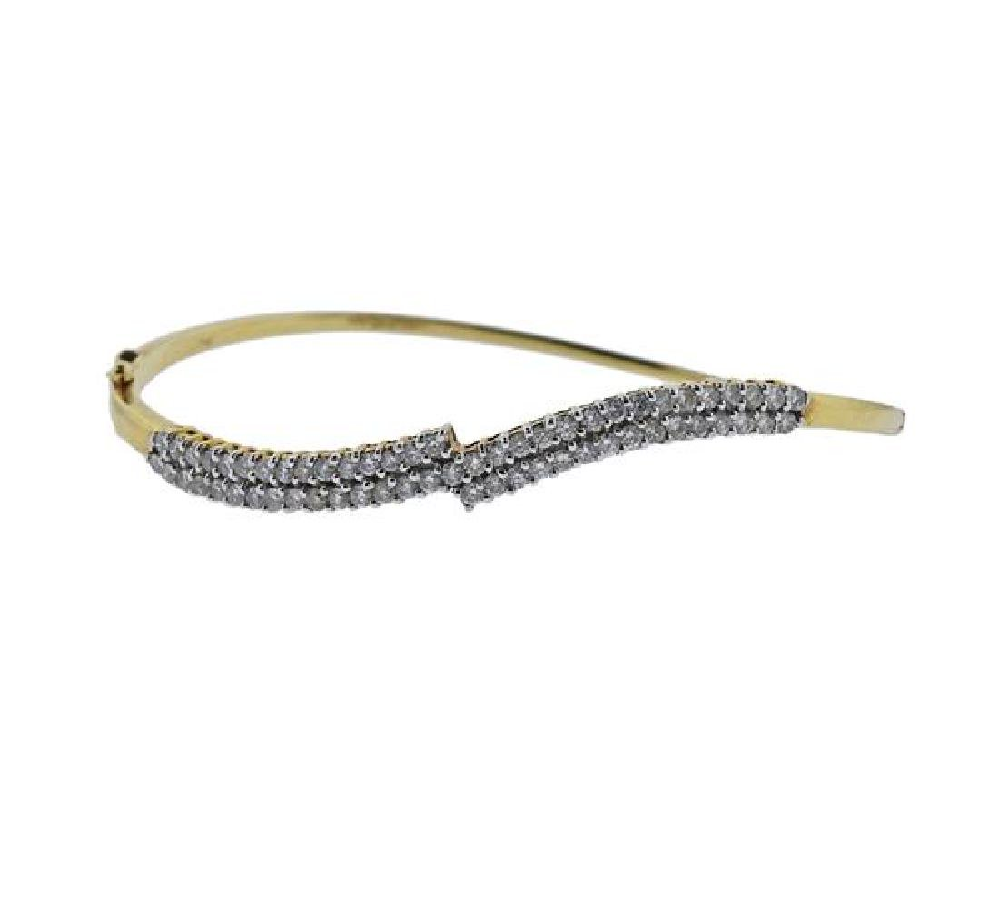 18k Gold Diamond Wave Bracelet