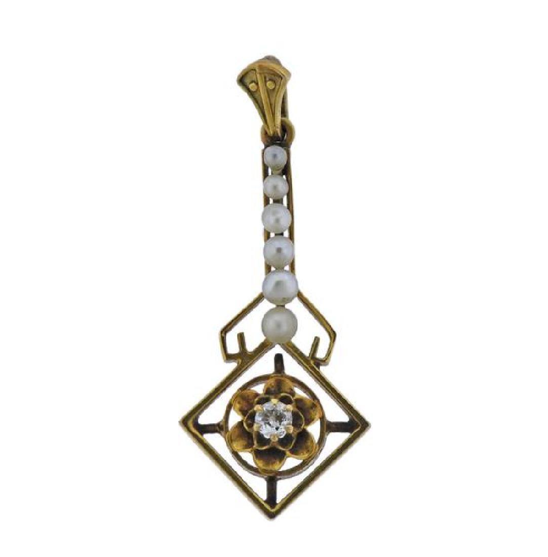 Antique 14K Gold Diamond Pearl Pendant