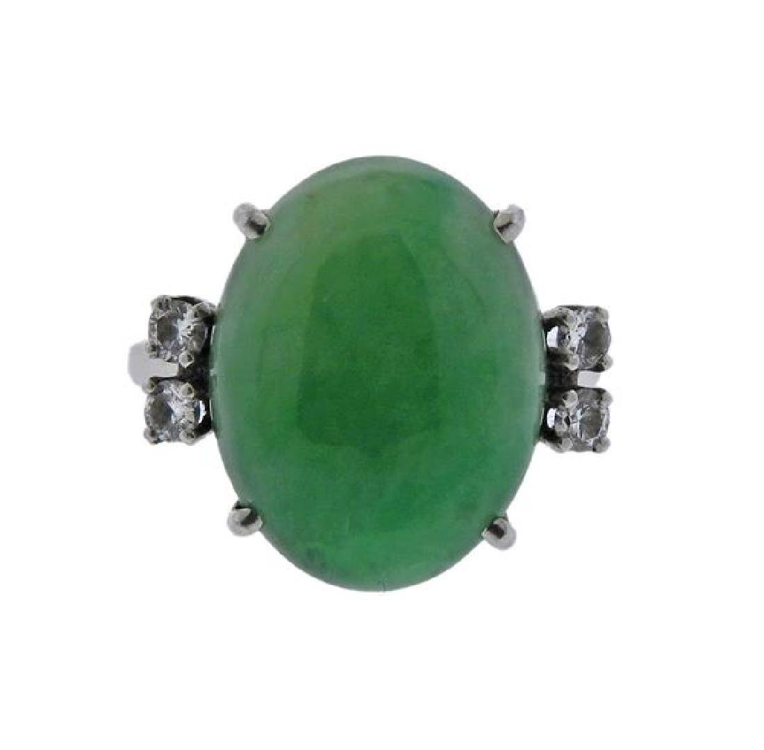 Platinum Jade Diamond Ring