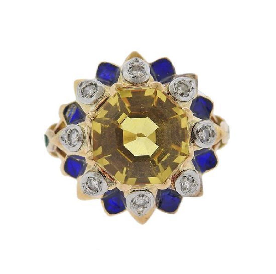 18K Gold Diamond Yellow Sapphire Enamel Dome Ring