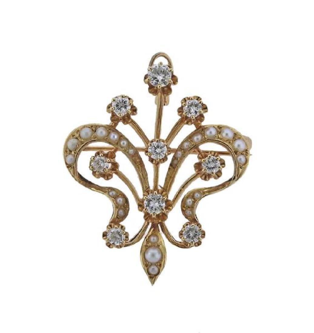 14k Gold Diamond Pearl Brooch Pendant