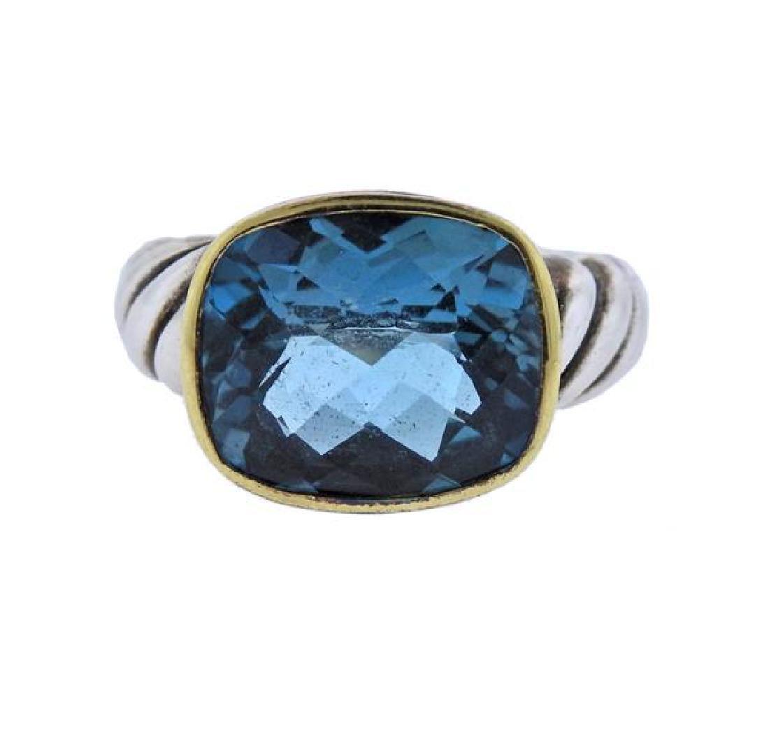 David Yurman Cable Silver 18k Gold Topaz Ring