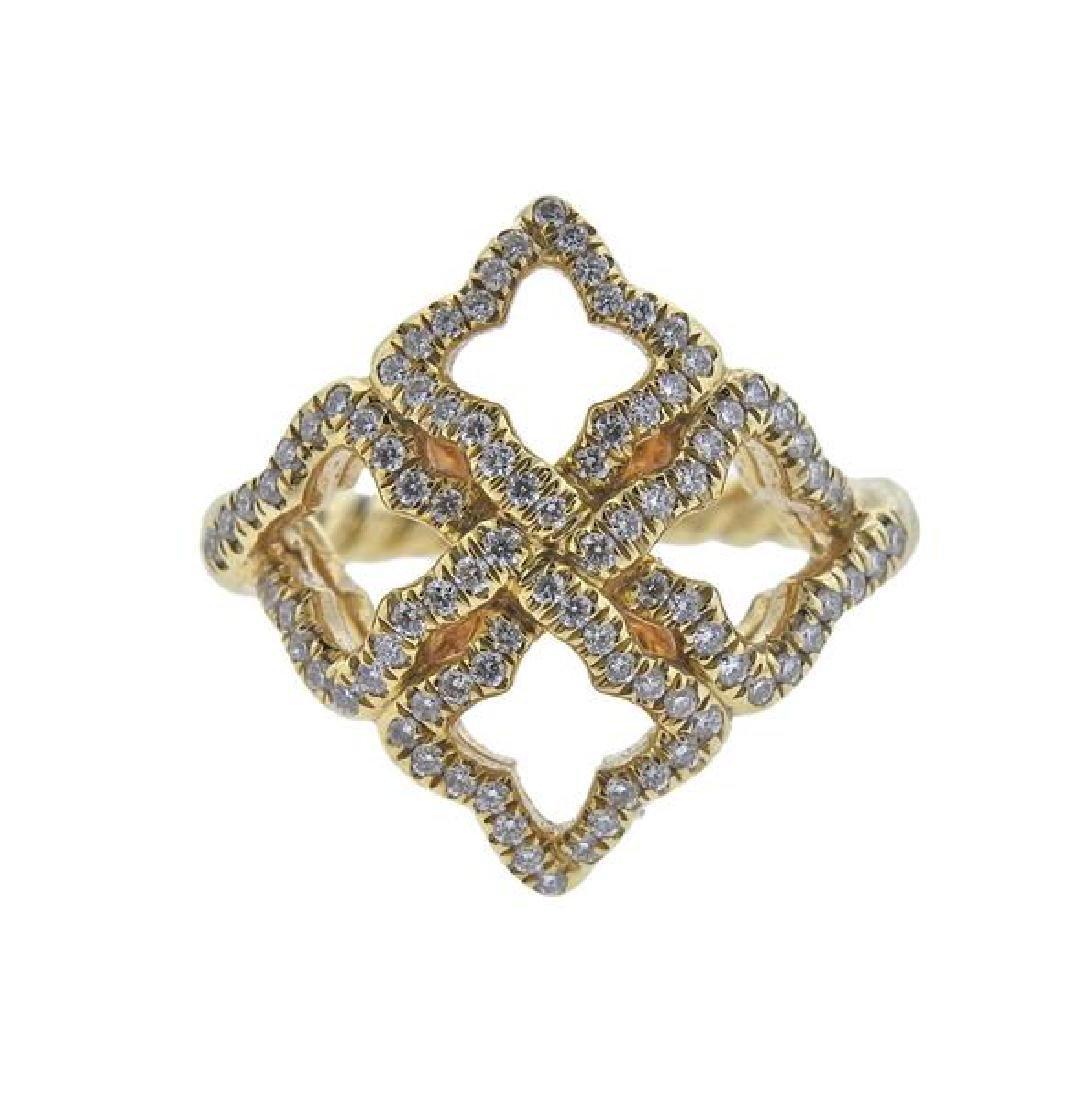 David Yurman Venetian Quatrefoil Diamond 18k Gold Ring
