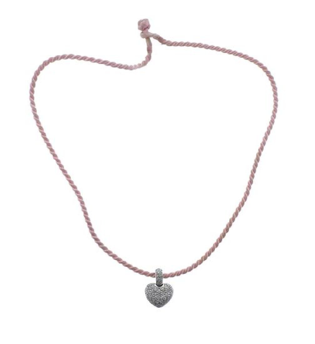 18k Gold Diamond Heart Pendant Pink Cord Necklace