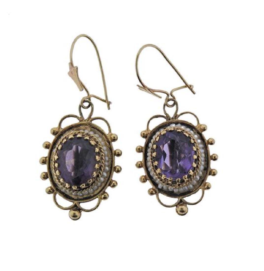 Antique 14k Gold Purple Stone Earrings