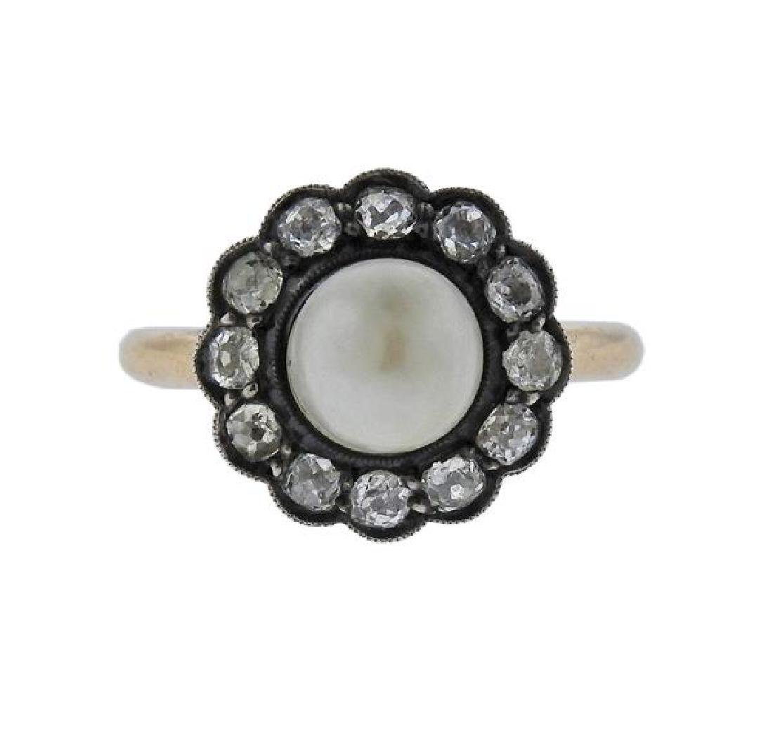 Antique 14k Gold Silver Pearl Diamond Ring
