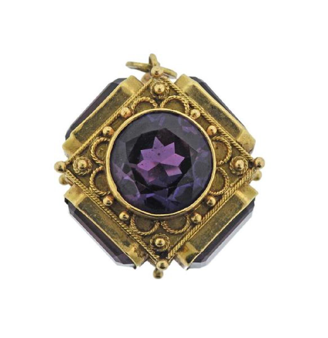 18k Gold Purple Stone Charm Pendant