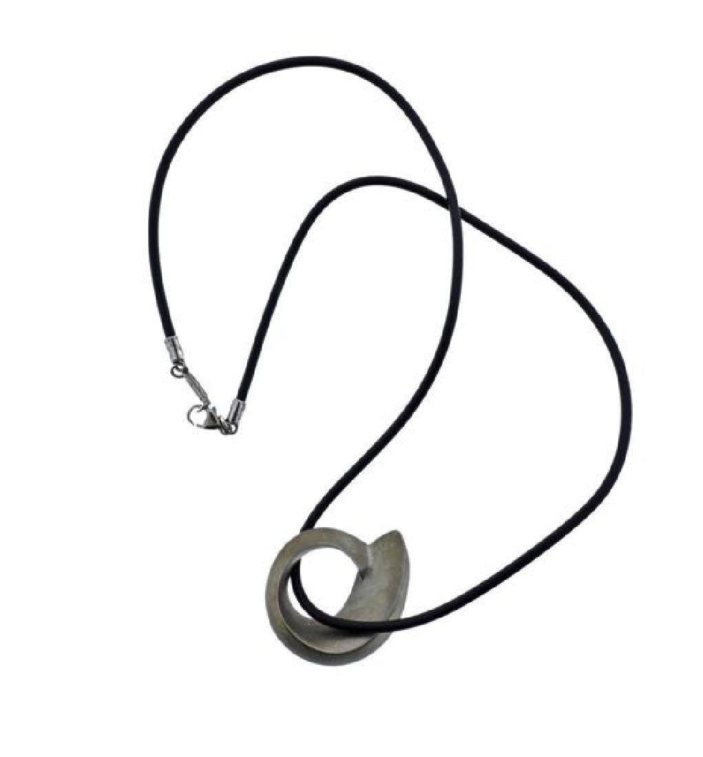 Tiffany & Co Gehry Silver Pendant Cord Necklace
