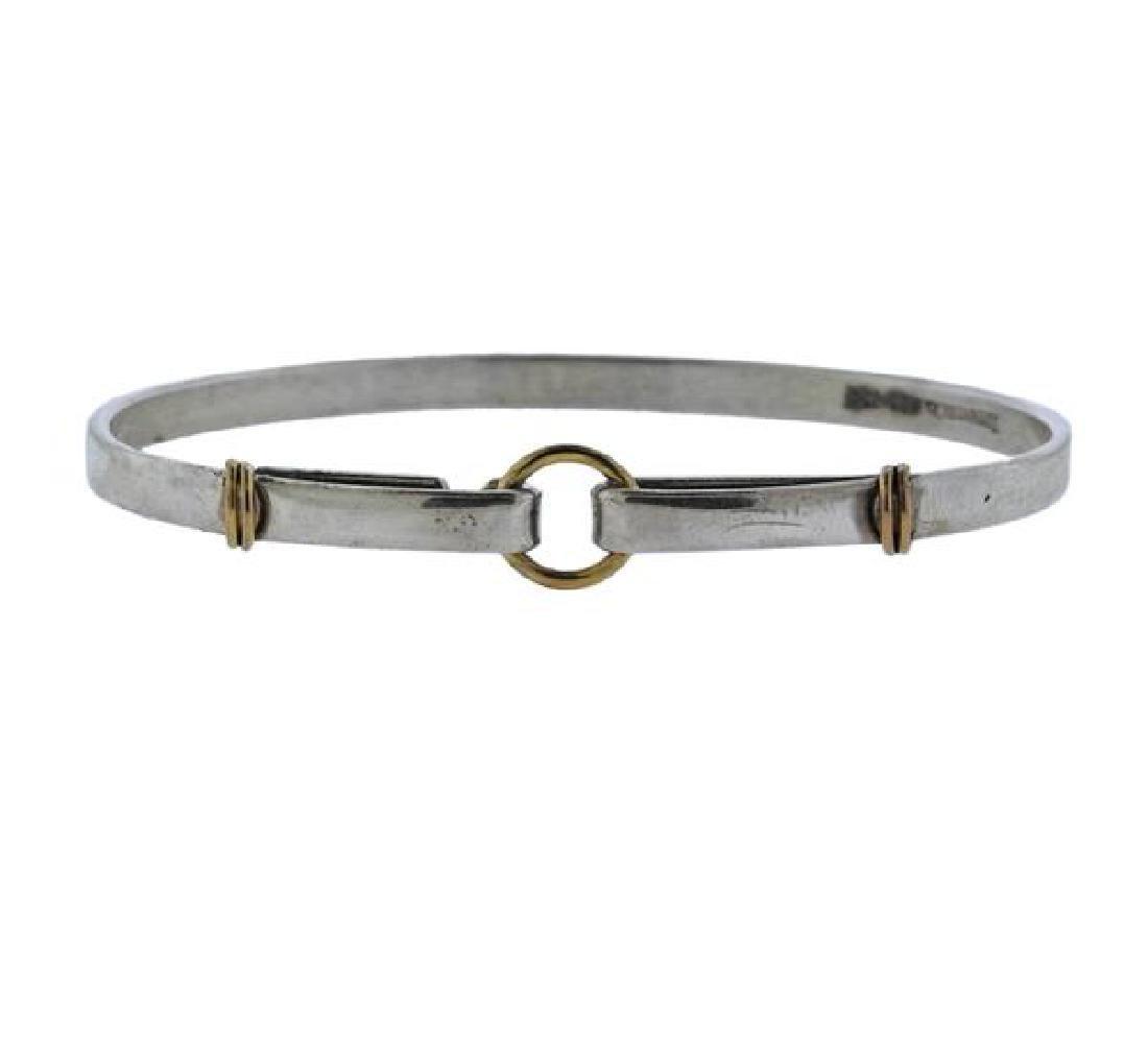 Tiffany & Co 18k Gold Silver Hook Bracelet