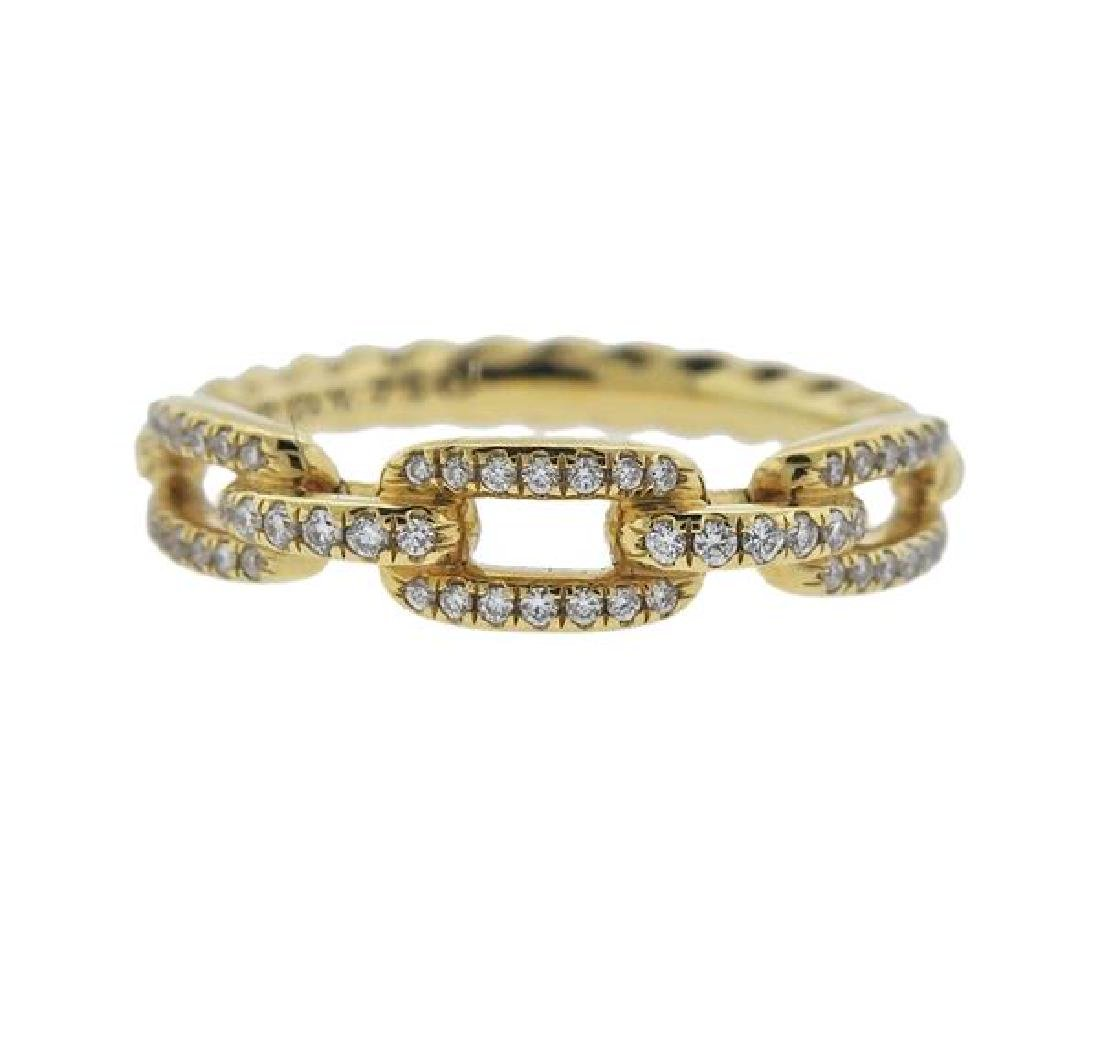 David Yurman Stax Chain 18k Gold Diamond Ring
