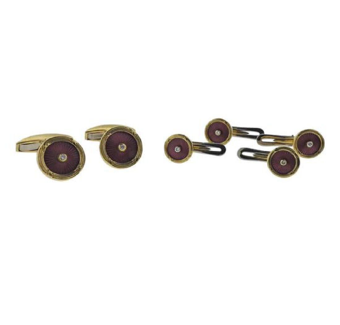 18k Gold Enamel Diamond Cufflinks Studs Set
