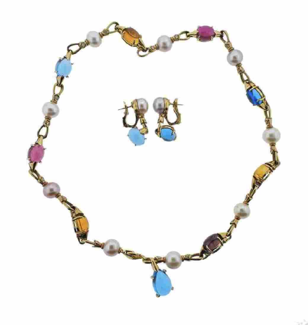 Bulgari 18k Gold Pearl Diamond Gemstone Necklace