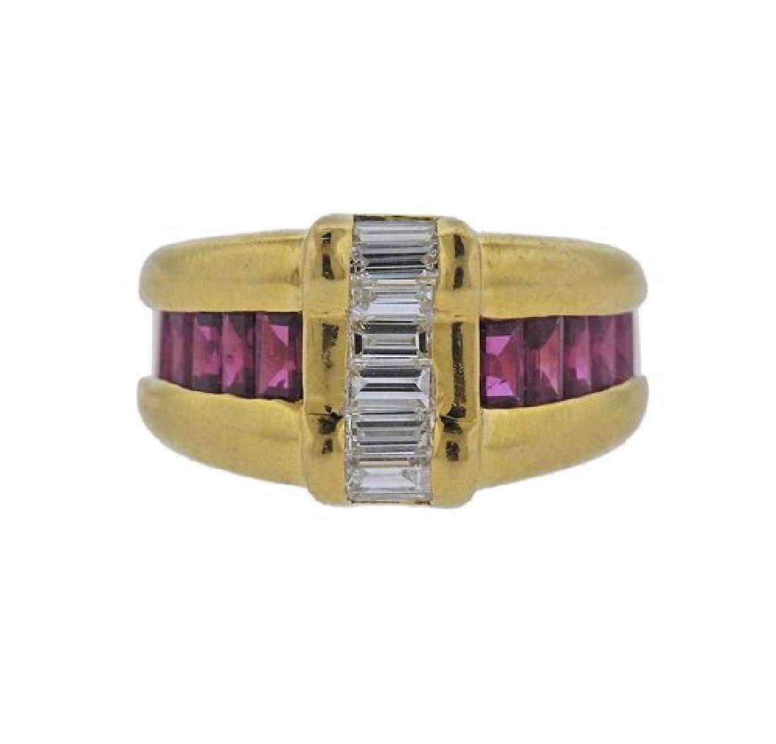 Gubelin 18k Gold Diamond Ruby Ring