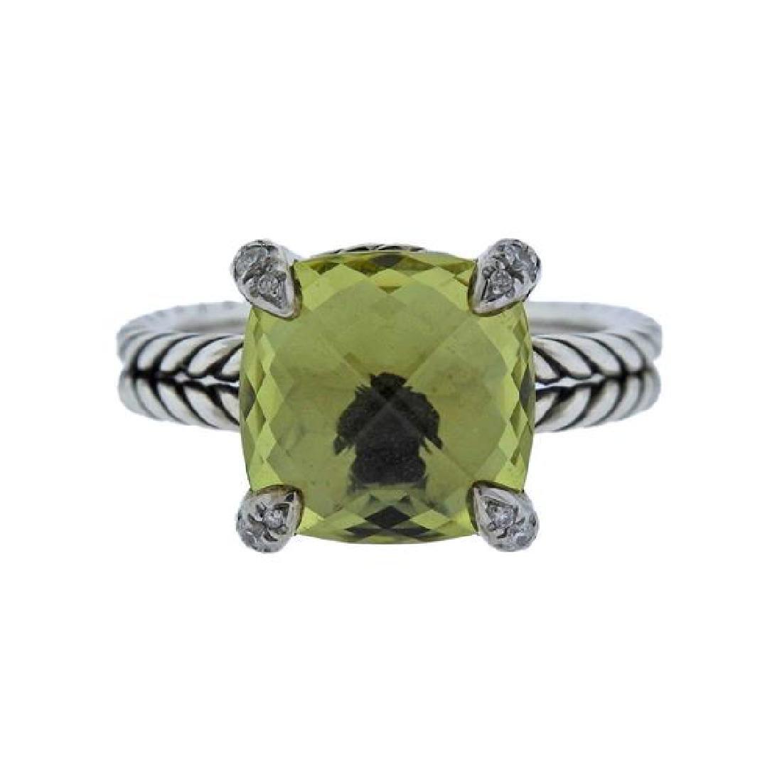 David Yurman Chatelaine Citrine Diamond Silver Ring