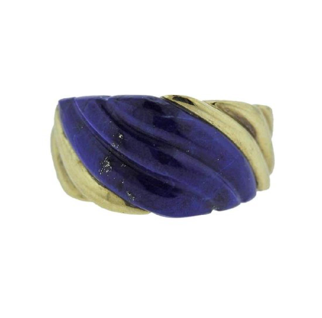 14k Gold Carved Lapis Ring