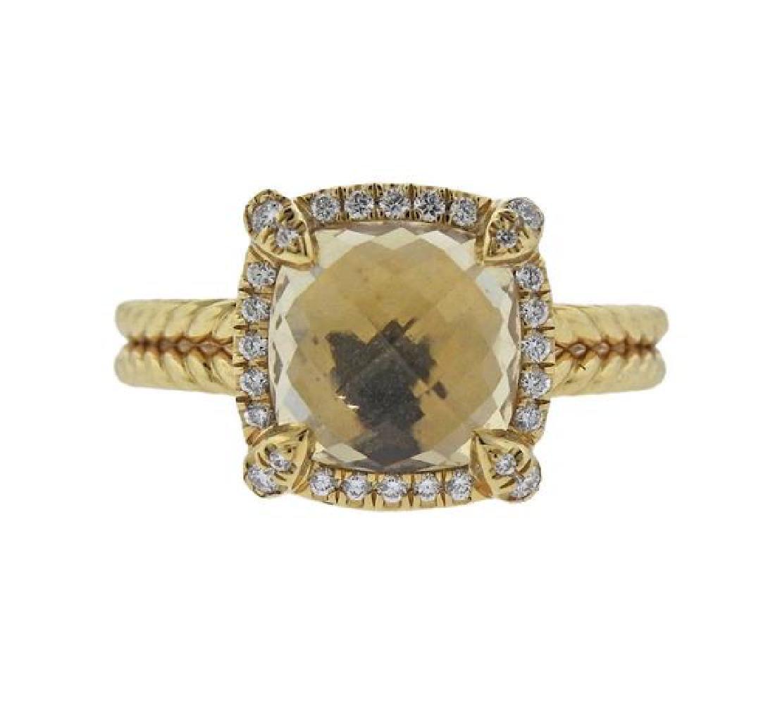 David Yurman Chatelaine Citrine Diamond 18k Gold Ring