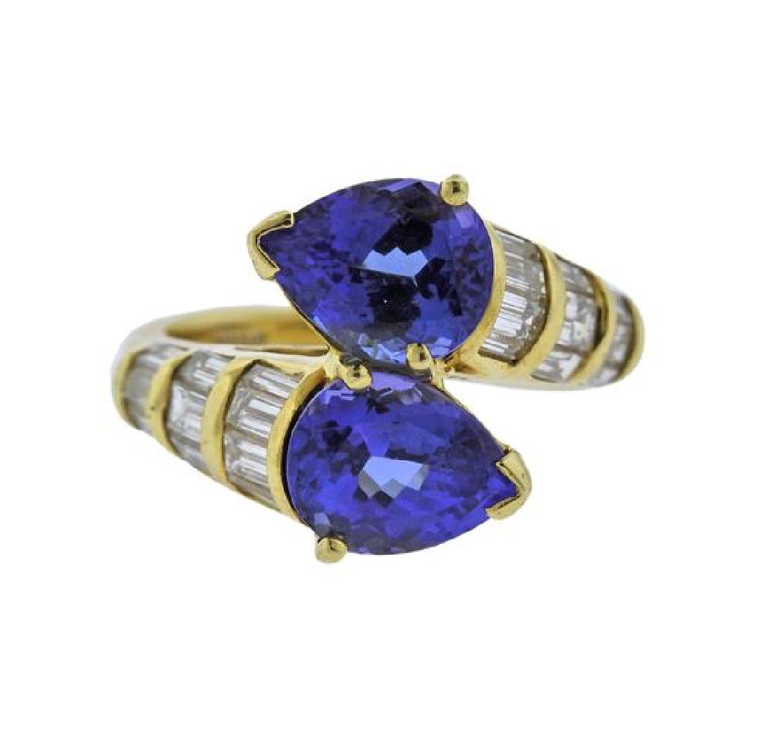 18k Gold Blue Stone Diamond Bypass Ring