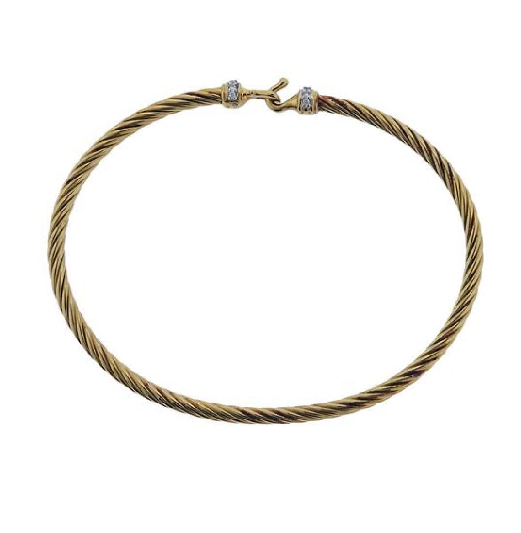 David Yurman 18k Gold Diamond Hook Bracelet