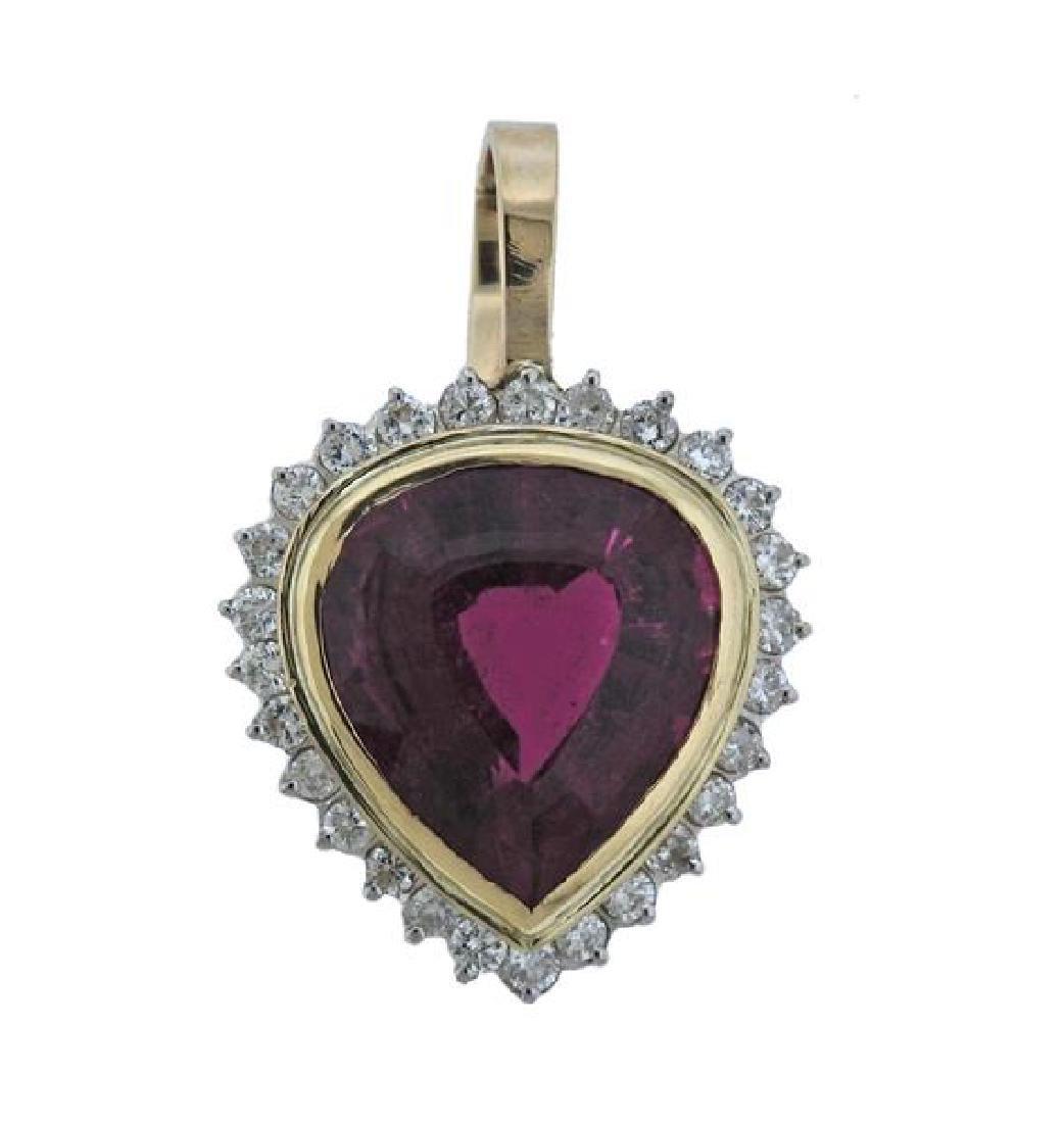 14k Gold Diamond Rubellite Heart Pendant