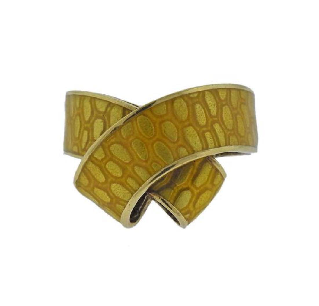 Kutchinsky 18k Gold Yellow Enamel Ring