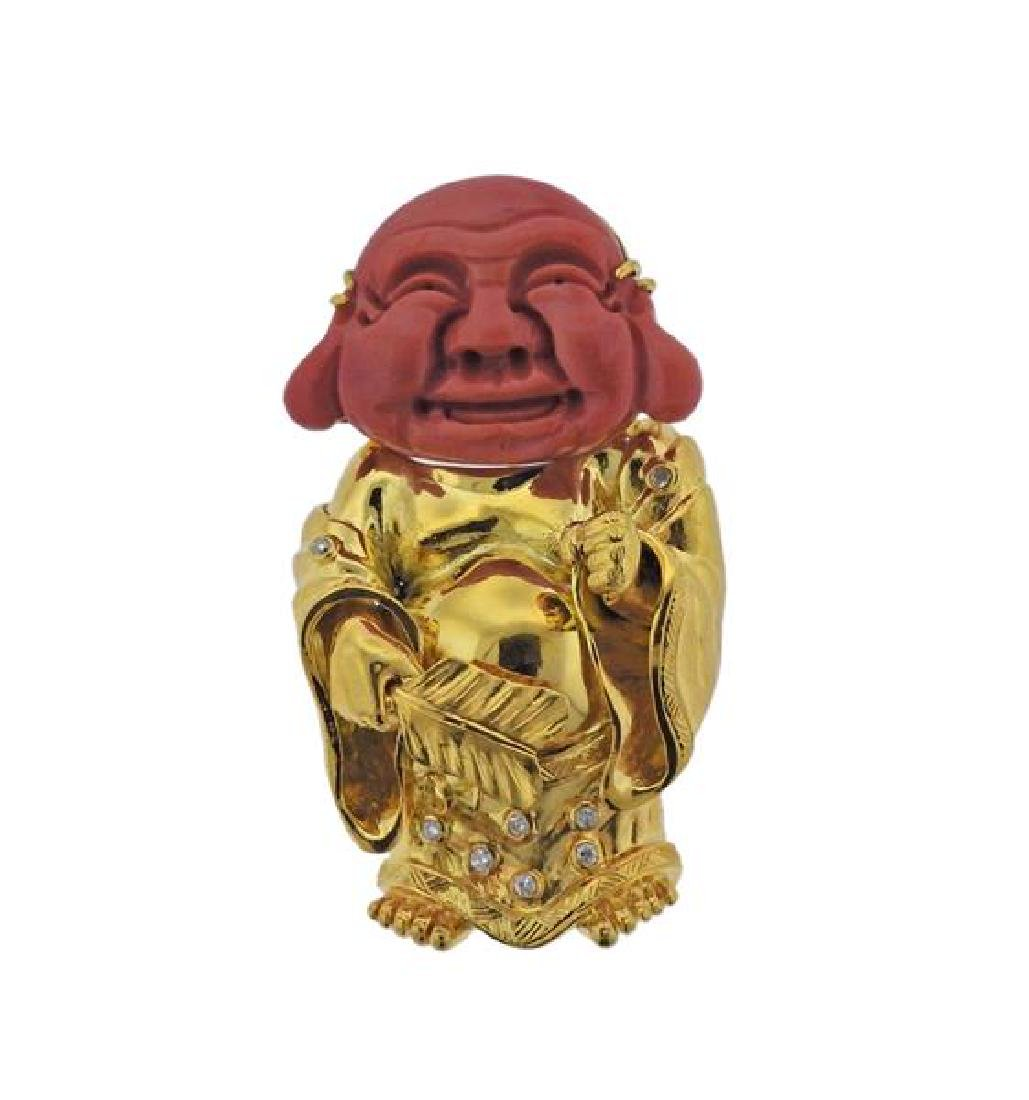 14k Gold Carved Coral Diamond Buddha Pendant Brooch