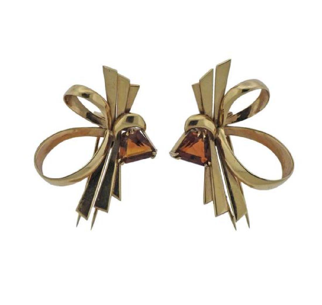 Retro Tiffany & Co 14k Gold Citrine Clips
