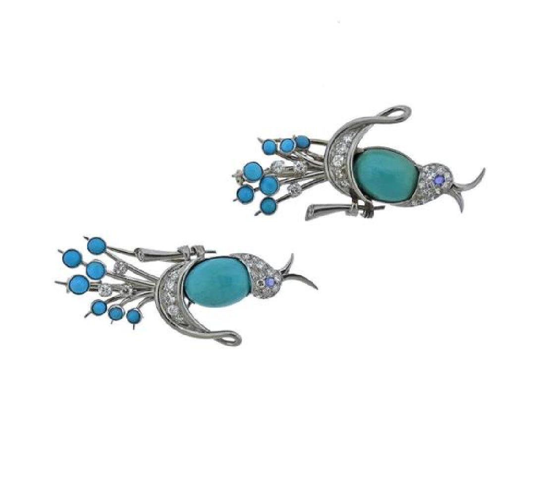 Platinum Diamond Turquoise Bird Brooch Set
