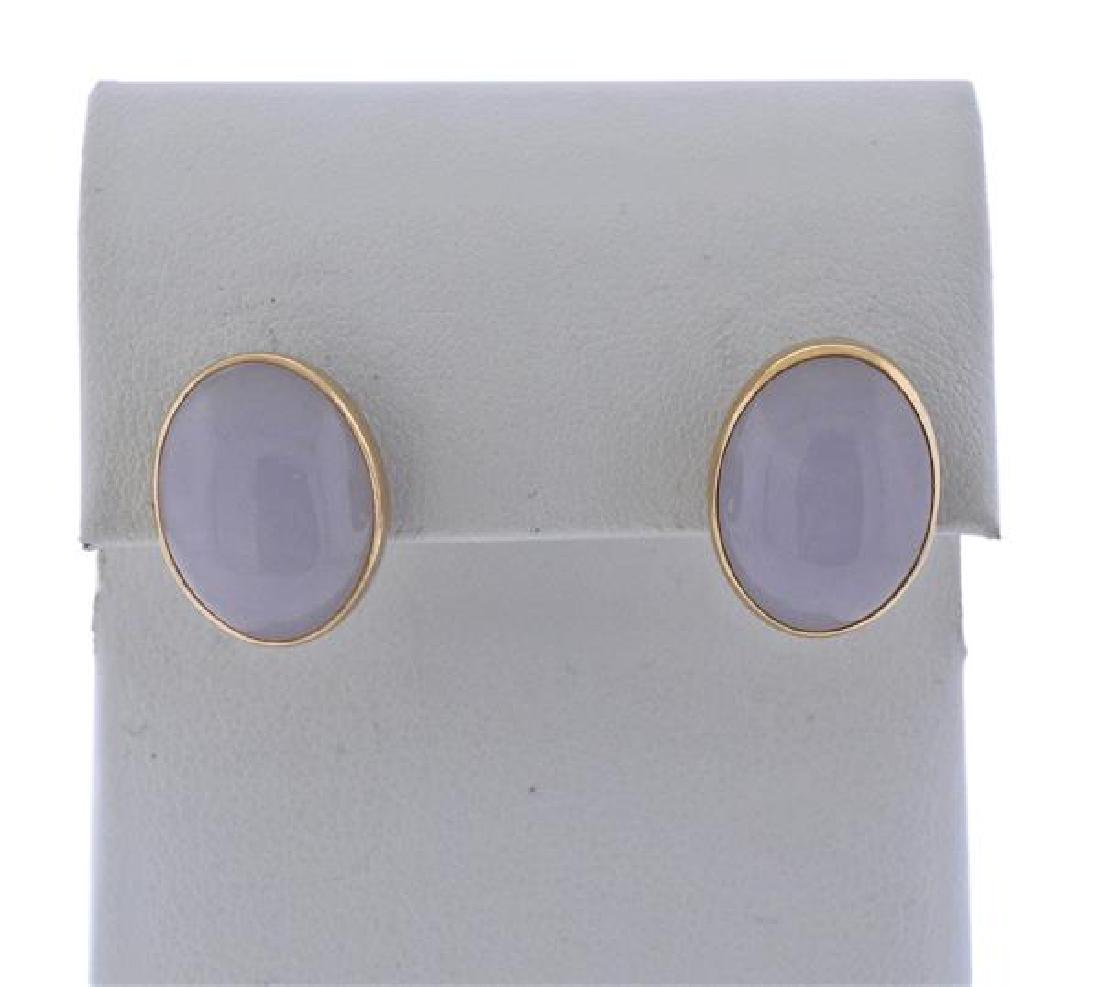14k Gold Lavender Jade Earrings