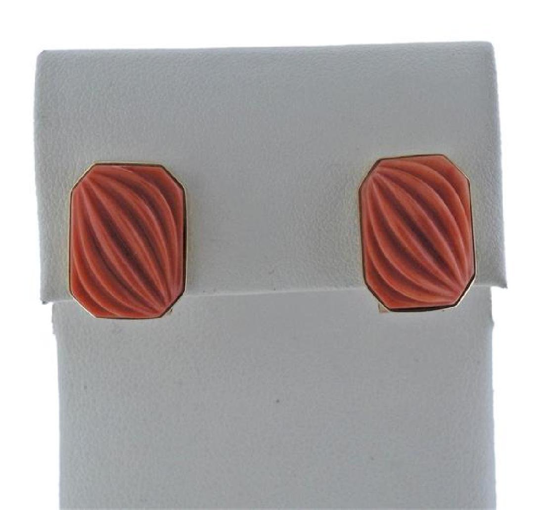 14k Gold Carved Coral Earrings