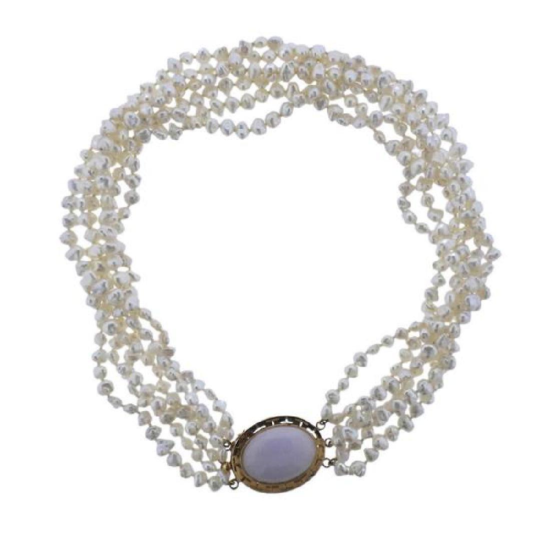 14k Gold Lavender Jade Pearl Necklace