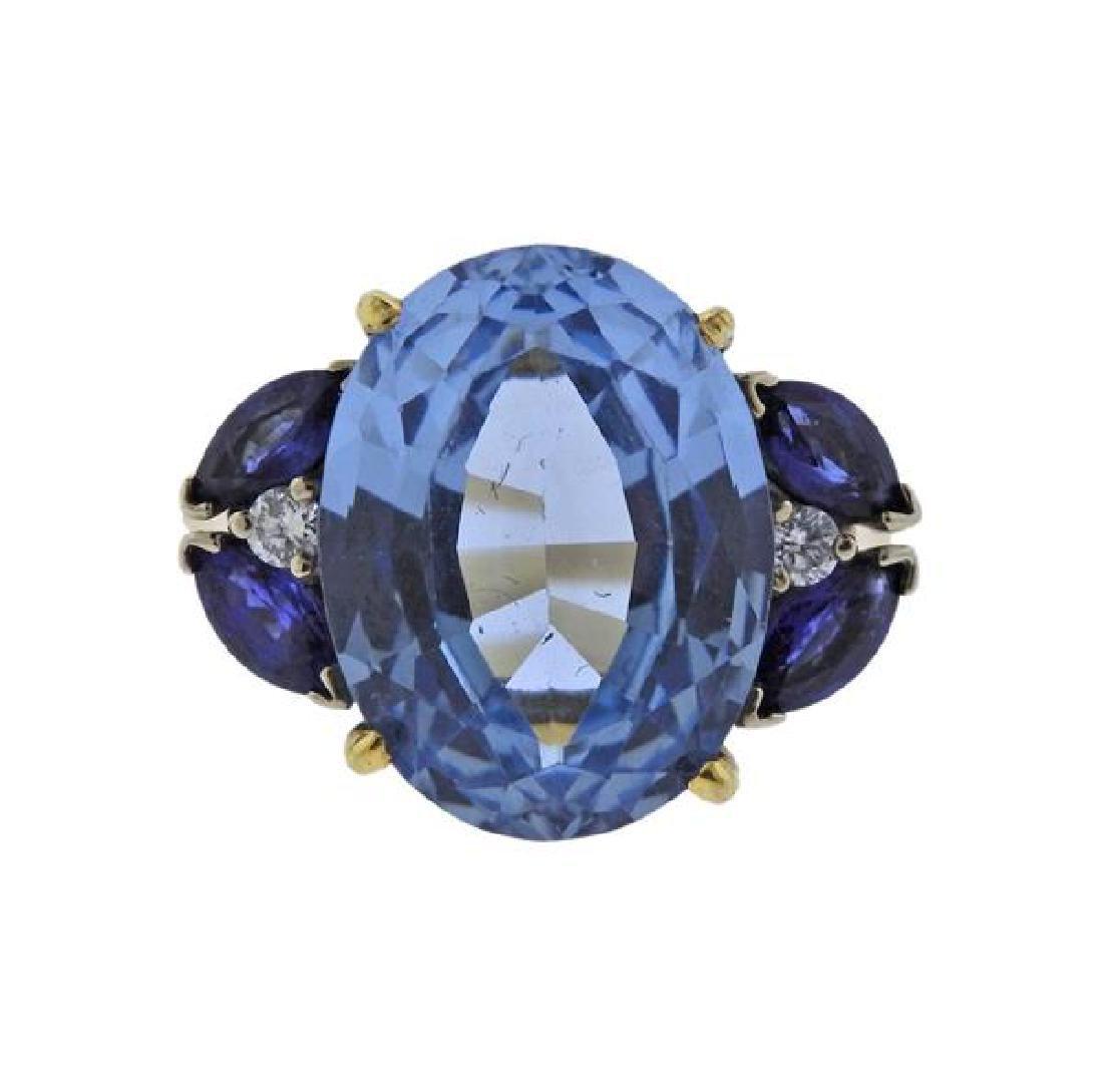 14k Gold Diamond Topaz Sapphire Ring