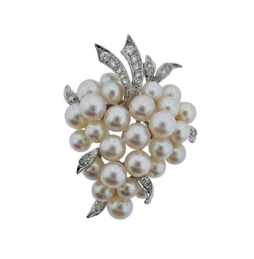 14k Gold Diamond Pearl Brooch Pin