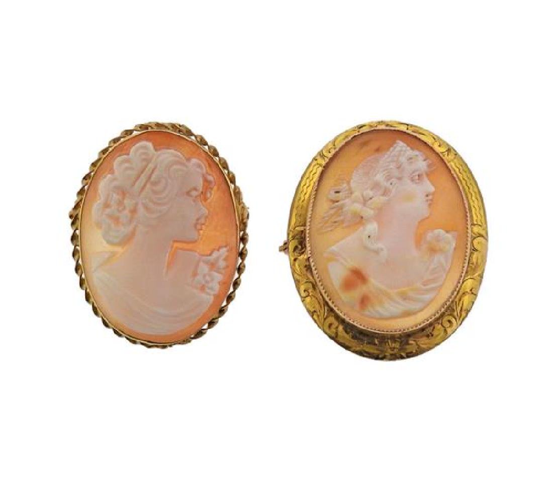 Gold Shell Cameo Brooch Pendant Lot