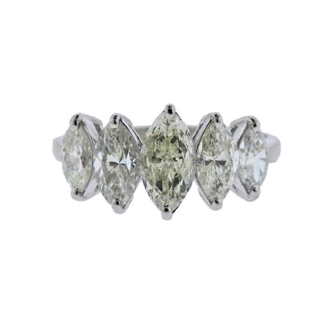 Platinum Marquis Diamond Half Band Ring