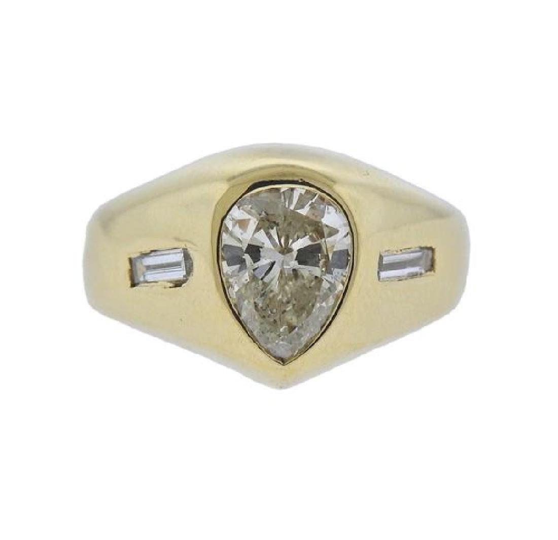 18k Gold 1.20ct Pear Diamond Engagement Ring