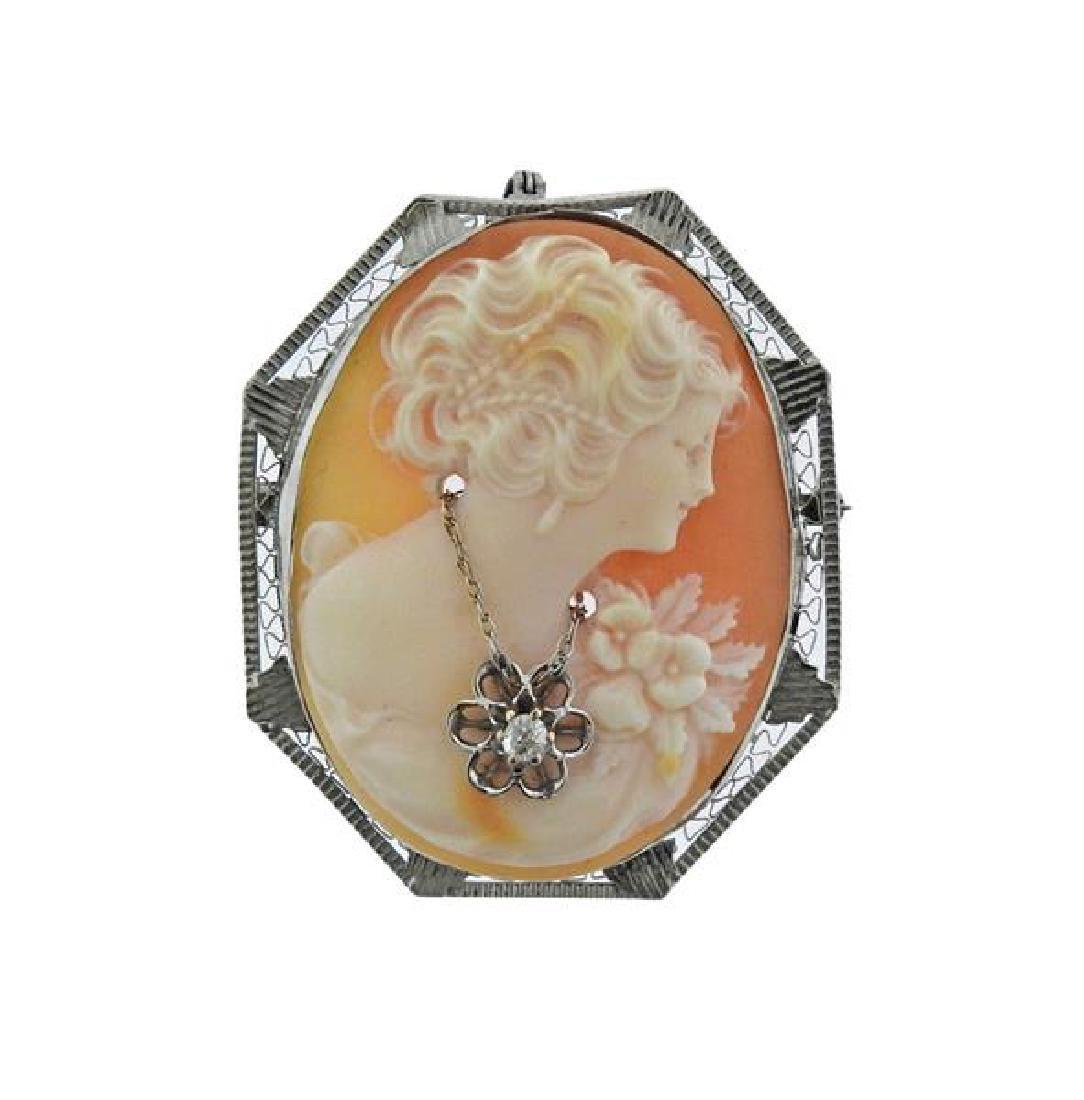 14k Gold Shell Cameo Diamond Brooch Pendant
